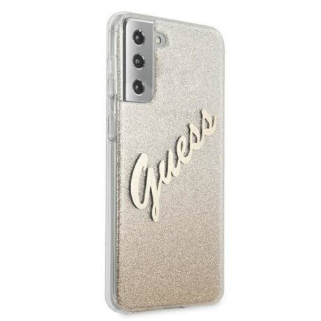 GUHCS21SPCUGLSGO Guess PC/TPU Vintage Zadni Kryt pro Samsung Galaxy S21 Gradient Gold