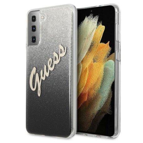 GUHCS21MPCUGLSBK Guess PC/TPU Vintage Zadni Kryt pro Samsung Galaxy S21+ Gradient Black