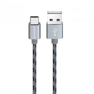 Cablu Date Type C Borofone BX24 Ring Textil 1m Argintiu