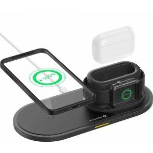 Incarcator Wireless Swissten 3 in 1 15W Negru