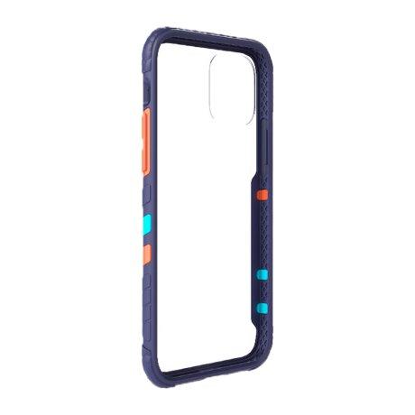 Husa Cover Hard X-Fitted Chameleon pentru iPhone 12 Mini Transparent Rama Albastru
