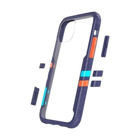 Husa Cover Hard X-Fitted Chameleon pentru iPhone 12/12 Pro Transparent Rama Albastru