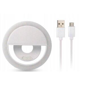 Lampa Led Ring pentru Selfie cu Cablu Date Micro Usb Alb