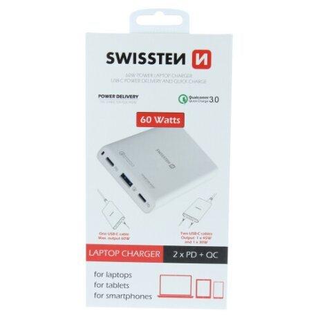 Adaptor Swissten 4xUSB QC-PD 3.0 QC 4 PPS 60W Alb