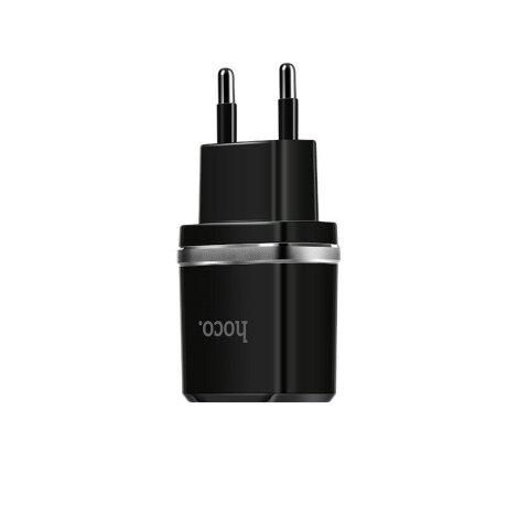 Incarcator Retea Hoco C12 2xUSB + Cablu Micro Negru