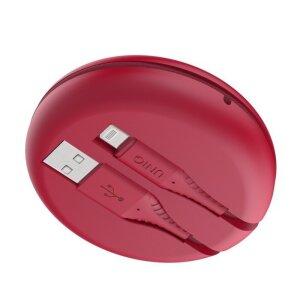 Cablu Date Usb la Lightning Uniq Halo cu Organizator 12W 1.2m Rosu