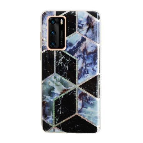 Husa Cover Silicon Geometric pentru Huawei P40 Bulk Negru