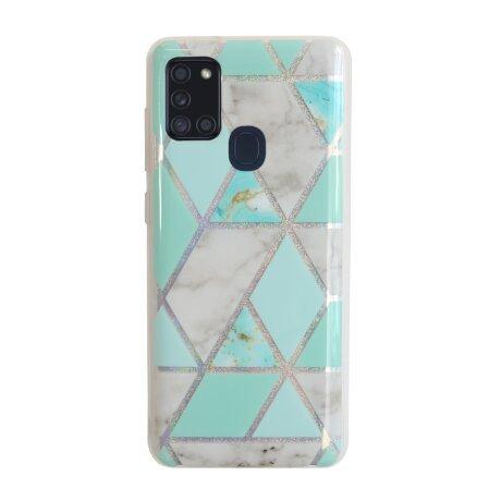 Husa Cover Silicon Geometric pentru Samsung Galaxy A21s Bulk Verde