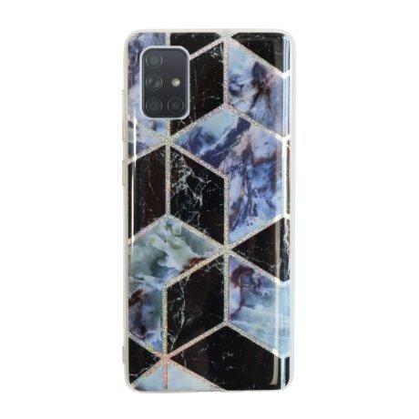 Husa Cover Silicon Geometric pentru Samsung Galaxy A71 Bulk Negru