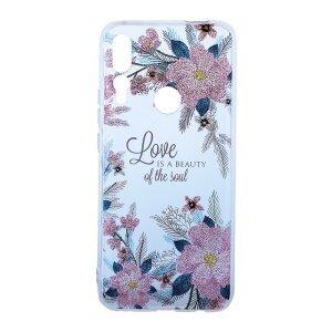 Husa Cover Silicon Fashion pentru Huawei P Smart Z Bulk Transparent Flori Roz
