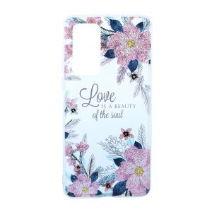 Husa Cover Silicon Fashion pentru Huawei P40 Bulk Transparent Flori Roz