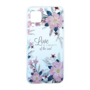 Husa Cover Silicon Fashion pentru Huawei P40 Lite Bulk Transparent Flori Roz