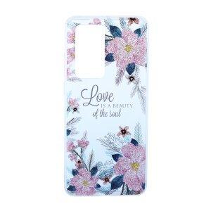 Husa Cover Silicon Fashion pentru Huawei P40 Pro Bulk Transparent Flori Roz