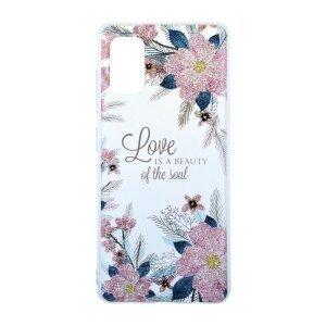 Husa Cover Silicon Fashion pentru Samsung Galaxy A41 Bulk Transparent Flori Roz