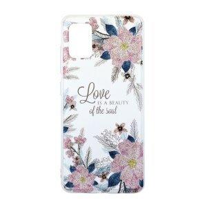 Husa Cover Silicon Fashion pentru Samsung Galaxy A51 Bulk Transparent Flori Roz