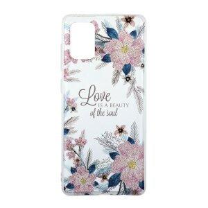 Husa Cover Silicon Fashion pentru Samsung Galaxy A71 Bulk Transparent Flori Roz