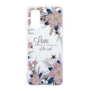 Husa Cover Silicon Fashion pentru Samsung Galaxy S20 Bulk Transparent Flori Roz