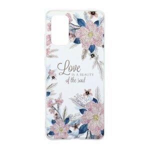 Husa Cover Silicon Fashion pentru Samsung Galaxy S20 Plus Bulk Transparent Flori Roz