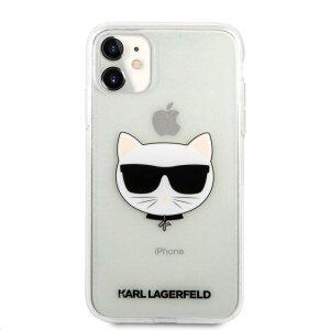 Husa Karl Lagerfeld Choupette Glitter pentru iPhone 11 Argintiu