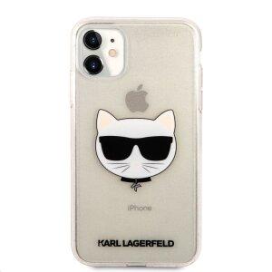 Husa Karl Lagerfeld Choupette Glitter pentru iPhone 11 Auriu