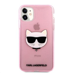 Husa Karl Lagerfeld Choupette Glitter pentru iPhone 11 Roz