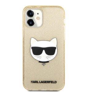 Husa Karl Lagerfeld Choupette Glitter pentru iPhone 12 mini Auriu