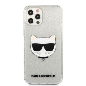 Husa Karl Lagerfeld Choupette Glitter pentru iPhone 12 Pro Max Argintiu