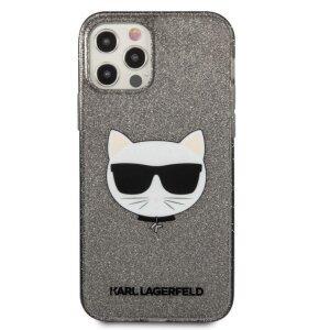 Husa Karl Lagerfeld Choupette Glitter pentru iPhone 12 Pro Max Negru