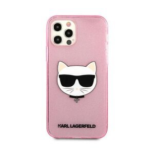 Husa Karl Lagerfeld Choupette Glitter pentru iPhone 12 Pro Max Roz