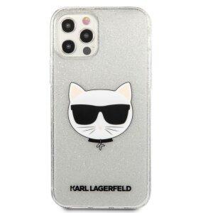 Husa Karl Lagerfeld Choupette Glitter pentru iPhone 12/iPhone 12 Pro Argintiu