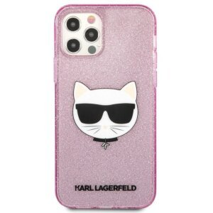 Husa Karl Lagerfeld Choupette Glitter pentru iPhone 12/iPhone 12 Pro Roz