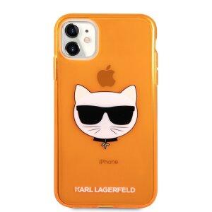 Husa Karl Lagerfeld Choupette Head pentru iPhone 11 Portocaliu