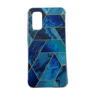 usa Cover Silicon Geometric pentru Samsung Galaxy S20 Albastru