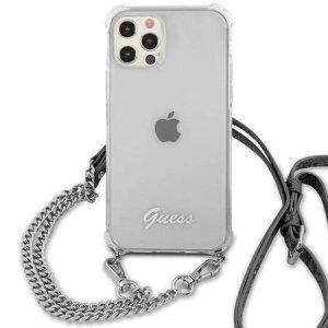 Husa Cover Guess Chain and Script PC 4G pentru iPhone 12/12 Pro Clear
