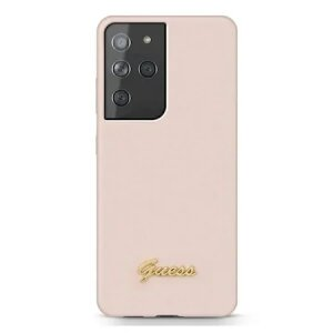 Husa Cover Guess Silicone Metal Logo pentru Samsung Galaxy S21 Ultra GUHCS21LLSLMGLP Pink