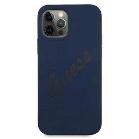 GUHCP12LLSVSBL Guess Silicone Vintage Zadni Kryt pro iPhone 12 Pro Max 6.7 Blue