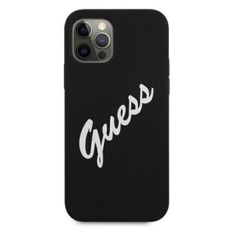 Husa Cover Guess Silicone pentru iPhone 12 Pro Max Vintage Script Green GUHCP12LLSVSBW Black