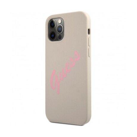 GUHCP12LLSVSGP Guess Silicone Vintage Pink Script Zadni Kryt pro iPhone 12 Pro Max 6.7 Grey