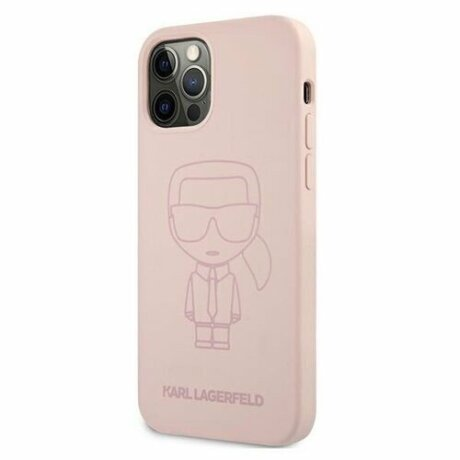 Husa Cover Karl Lagerfeld Iconic outline Silicone KLHCP12MSILTTPI pentru iPhone 12/12 Pro Pink