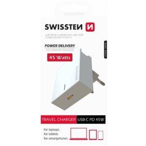 Incarcator Retea Swissten Usb-Type C 1xUSB QC 3.0 45W Alb