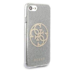 Husa Cover Guess Glitter pentru iPhone 7/8/SE2 Circle Logo Argintiu