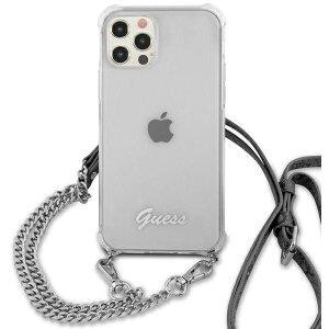 Husa Cover Guess Chain and Script PC 4G pentru iPhone 12 Pro Max Clear