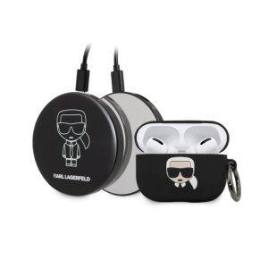 Husa Cover Karl Lagerfeld Bundle Iconic pentru Airpods Pro Black + Baterie Externa 2000 mAh