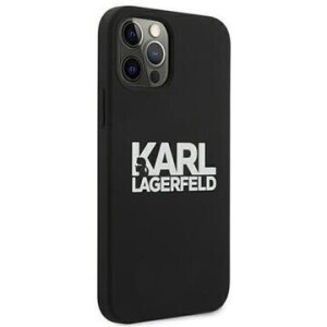 Husa Cover Karl Lagerfeld Stack White Logo Silicone pentru iPhone 12/12 Pro Black