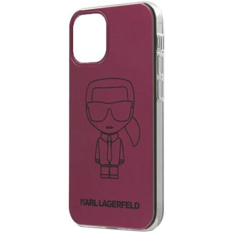 Husa Cover Karl Lagerfeld Metallic Iconic Outline pentru iPhone 12 Mini Pink