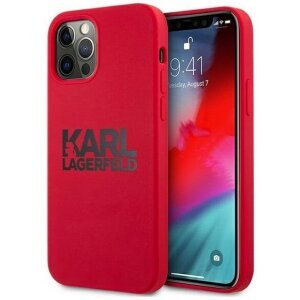 Husa Cover Karl Lagerfeld Stack Black Logo Silicone pentru iPhone 12/12 Pro Red