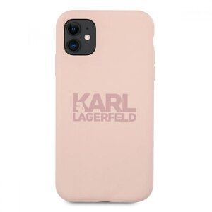 Husa Cover Karl Lagerfeld Stack Logo Silicone pentru iPhone 11 Pink