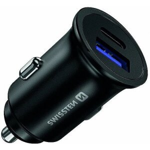 Incarcator Auto Swissten 2xUSB USB-Type C QC 3. Negru