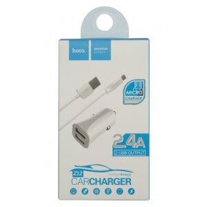 Incarcator Auto Hoco Z12 2xUSB + Cablu Micro Alb