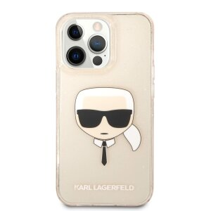 Husa Cover Karl Lagerfeld Glitter Karl&Choupette pentru iPhone 13 Pro Max Gold